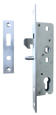 Mortise sliding door lock with closeable hook with security pin